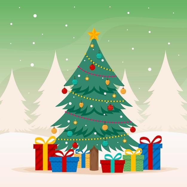 Platte ontwerp kerstboom met verschillende ornamenten Gratis Vector