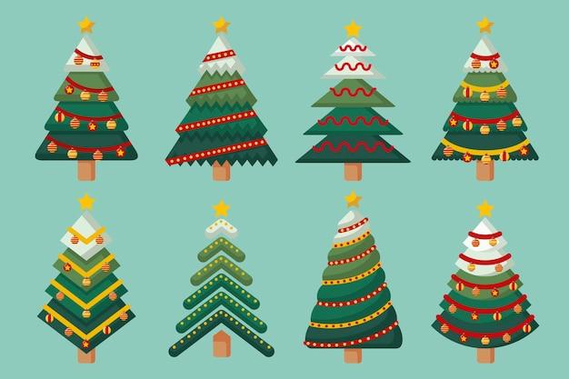 Platte ontwerp kerstboom set Premium Vector