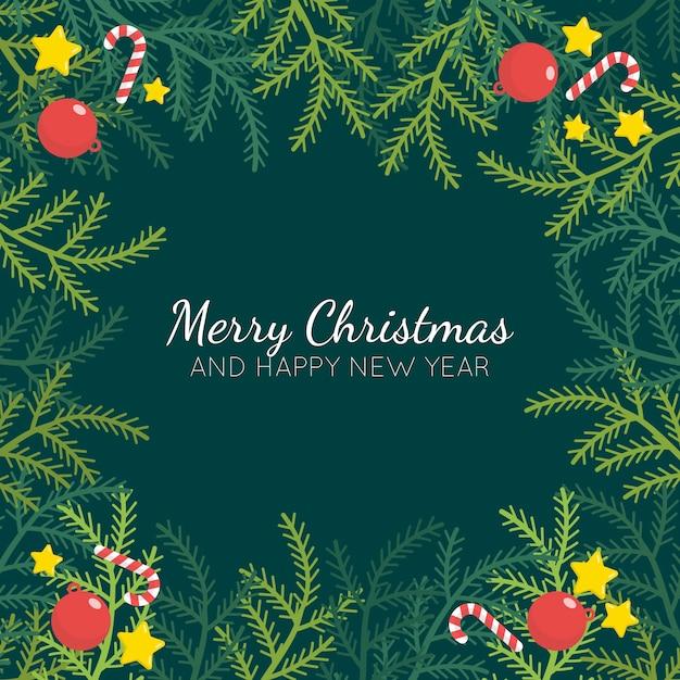 Platte ontwerp kerstboom takken achtergrond Gratis Vector