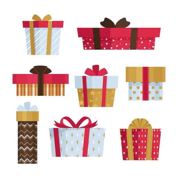 Platte ontwerp kerstcadeaupakket Gratis Vector