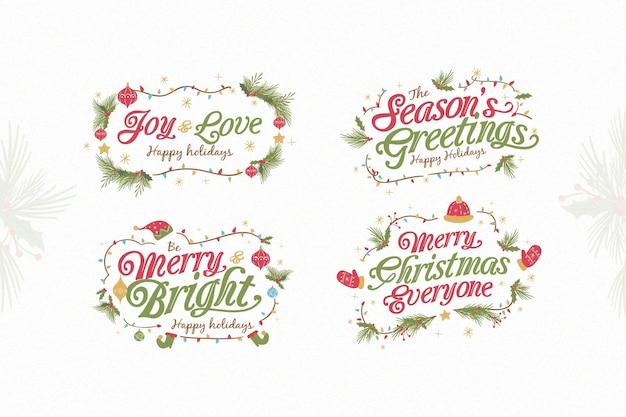 Platte ontwerp kerstetiket Gratis Vector