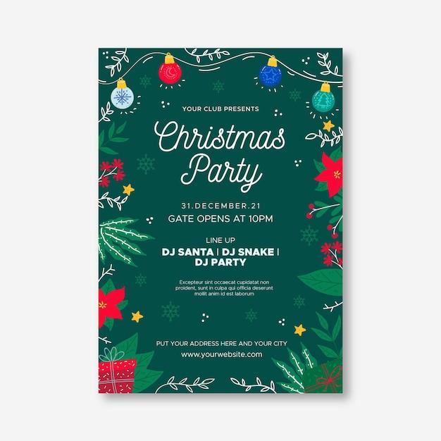 Platte ontwerp kerstfeest poster sjabloon Gratis Vector