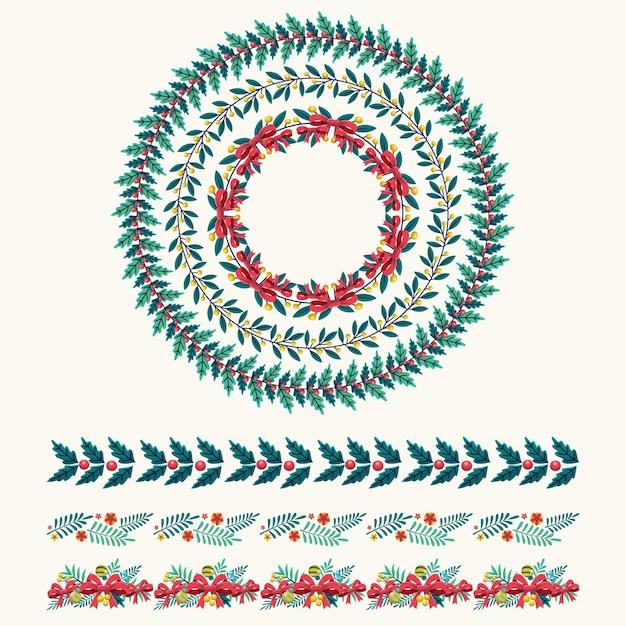 Platte ontwerp kerstkaders en randen Gratis Vector