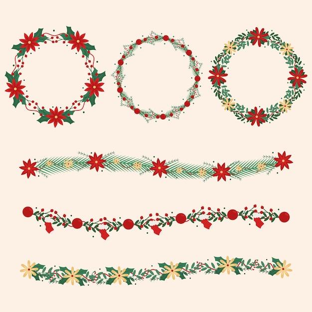 Platte ontwerp kerstkrans collectie Gratis Vector
