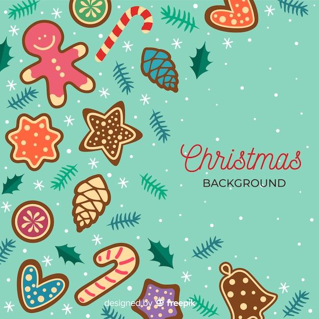 Platte ontwerp kerstmis achtergrond met kopie ruimte Gratis Vector