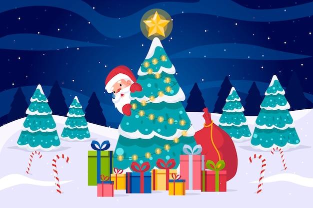 Platte ontwerp kerstmis achtergrond Gratis Vector