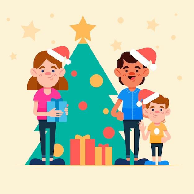 Platte ontwerp kerstmis familie scène concept Gratis Vector