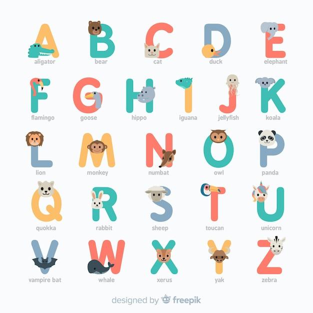 Platte ontwerp kleurrijke dieren alfabet Gratis Vector