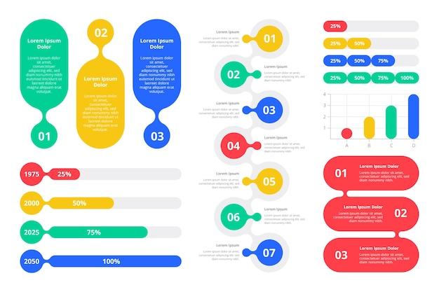 Platte ontwerp kleurrijke infographic elementen Gratis Vector