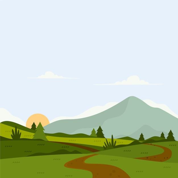 Platte ontwerp kleurrijke lente landschap Gratis Vector