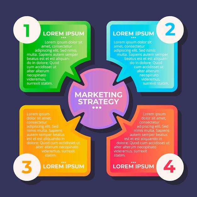 Platte ontwerp kleurrijke marketing infographics Gratis Vector