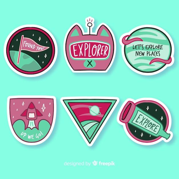 Platte ontwerp kleurrijke ruimte sticker collectie Gratis Vector