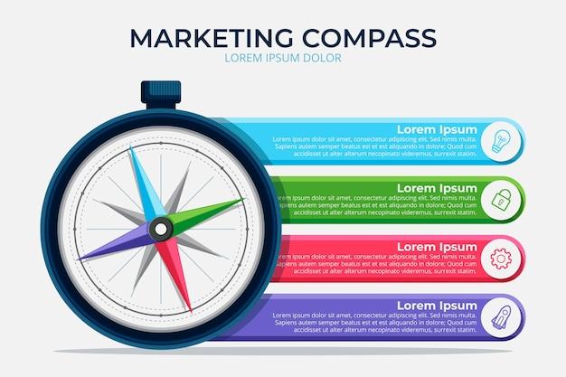Platte ontwerp kompas infographic Gratis Vector