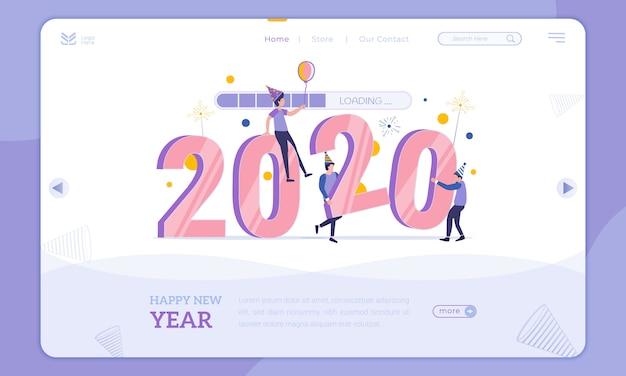 Platte ontwerp laden in 2020, nieuwjaarsfeest op bestemmingspagina Premium Vector