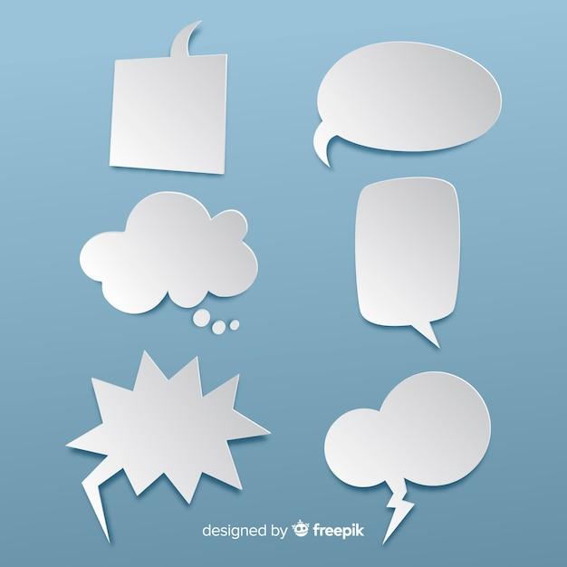 Platte ontwerp lege tekstballonnen in papierstijl Gratis Vector