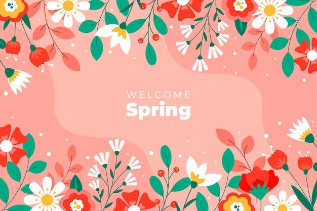Platte ontwerp lente achtergrond Gratis Vector