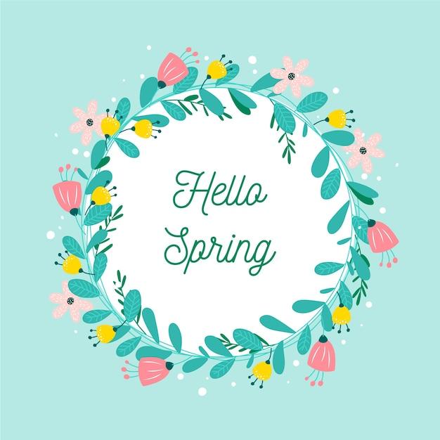 Platte ontwerp lente bloemen frame thema Gratis Vector