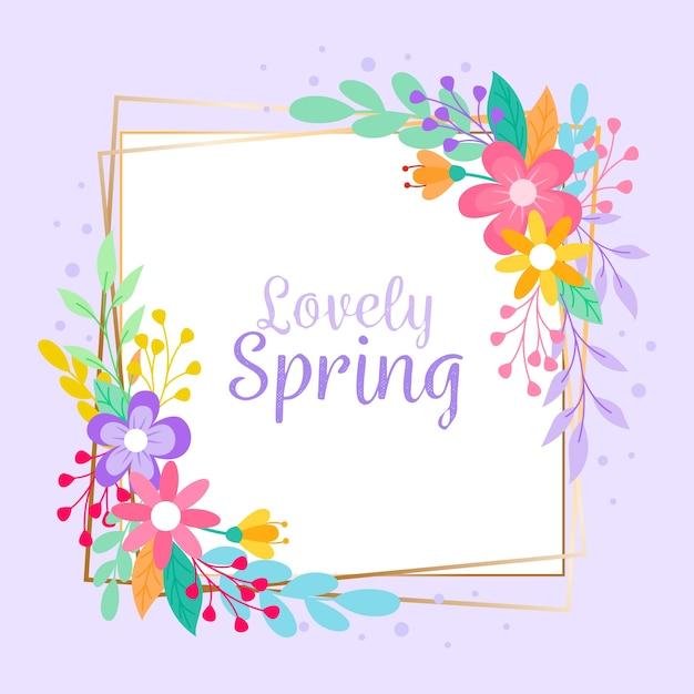 Platte ontwerp lente bloemen frame Gratis Vector