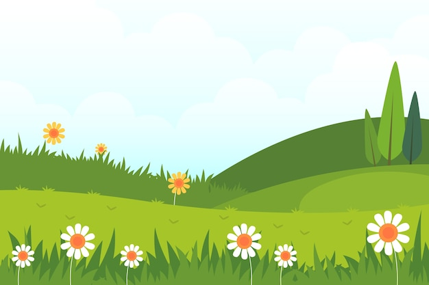 Platte ontwerp lente landschapsthema Gratis Vector