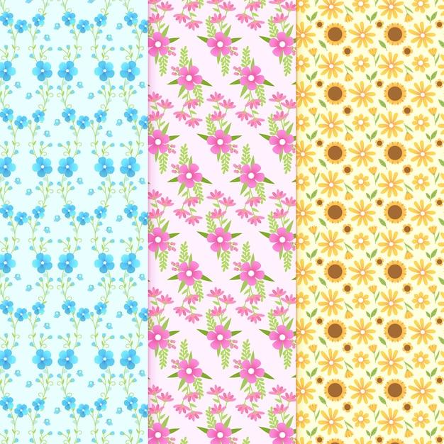 Platte ontwerp lente thema voor patroon collectie Gratis Vector
