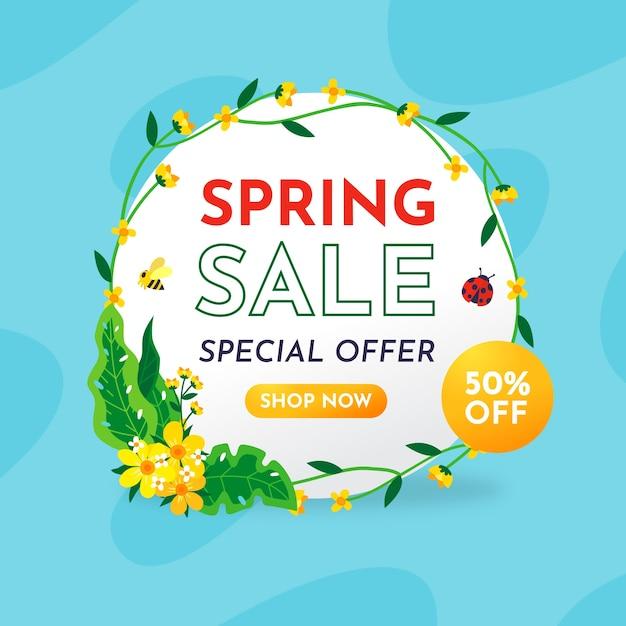 Platte ontwerp lente verkoop banner Gratis Vector