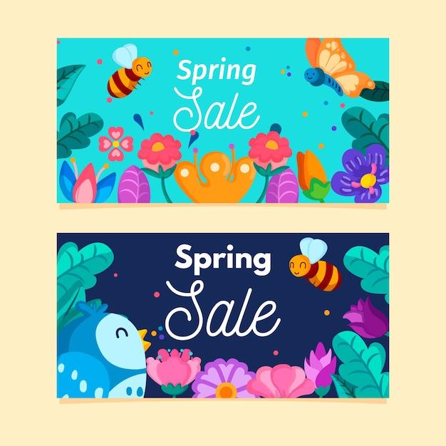 Platte ontwerp lente verkoop banners set Gratis Vector