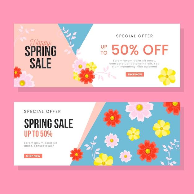 Platte ontwerp lente verkoop banners Gratis Vector