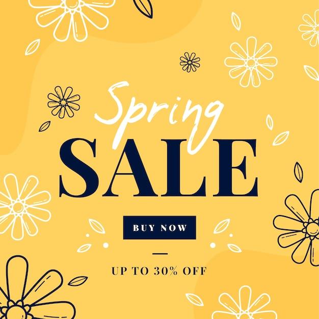 Platte ontwerp lente verkoop met doodle bloemen Gratis Vector