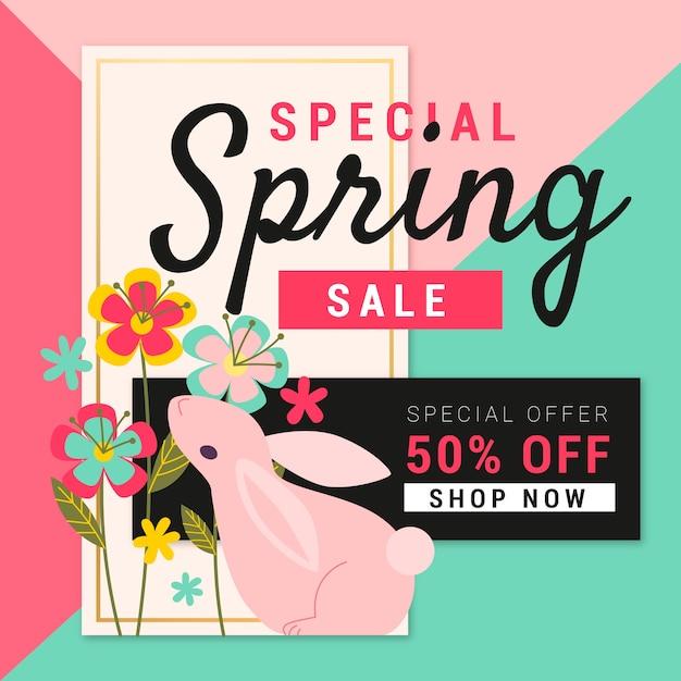 Platte ontwerp lente verkoop met konijn en bloemen Gratis Vector