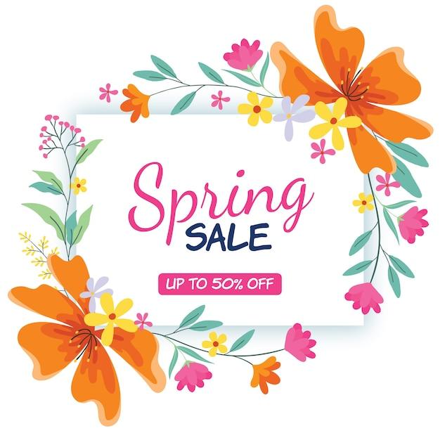 Platte ontwerp lente verkoop thema Gratis Vector