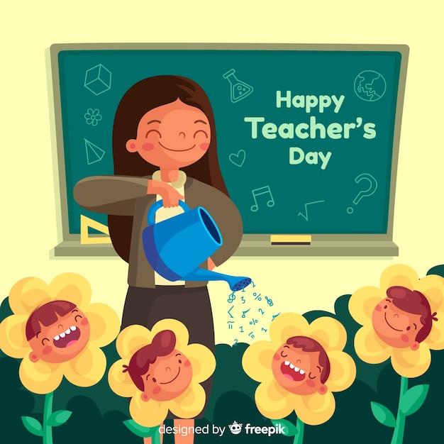 Platte ontwerp leraar bloemen water geven Gratis Vector