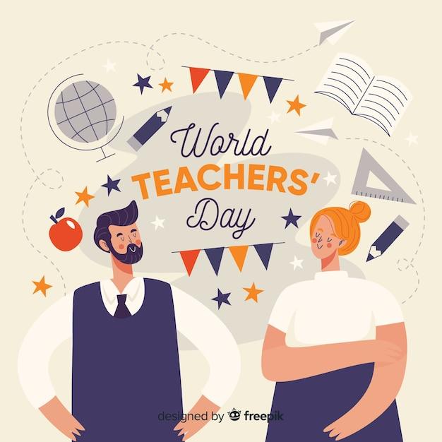 Platte ontwerp leraren dag achtergrond Gratis Vector