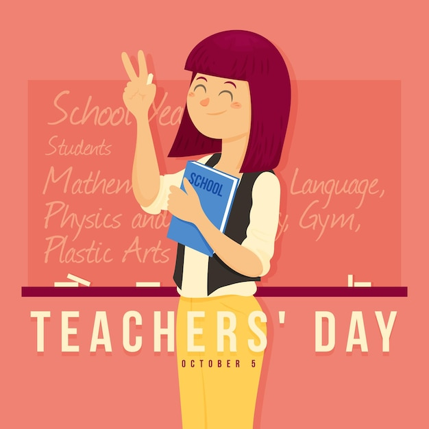 Platte ontwerp leraren dag concept Premium Vector