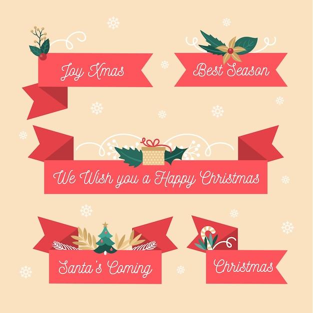 Platte ontwerp lint kerstset Gratis Vector