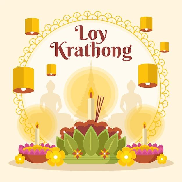 Platte ontwerp loy krathong concept Gratis Vector