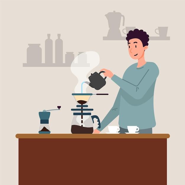 Platte ontwerp man die koffie maakt Gratis Vector