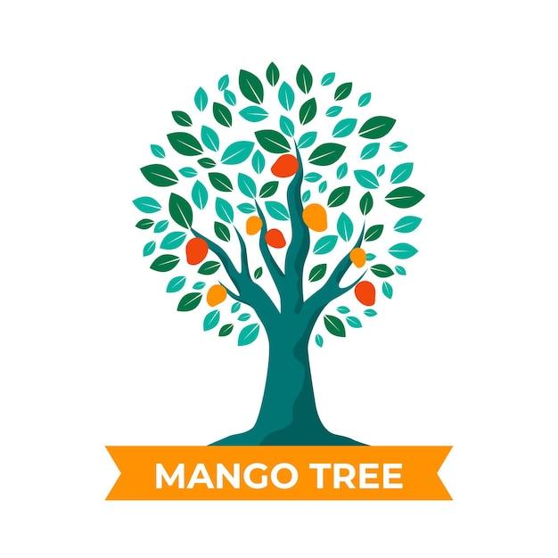 Platte ontwerp mangoboom illustratie Gratis Vector