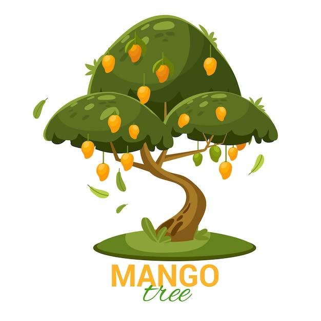 Platte ontwerp mangoboom met fruit en bladeren geïllustreerd Gratis Vector