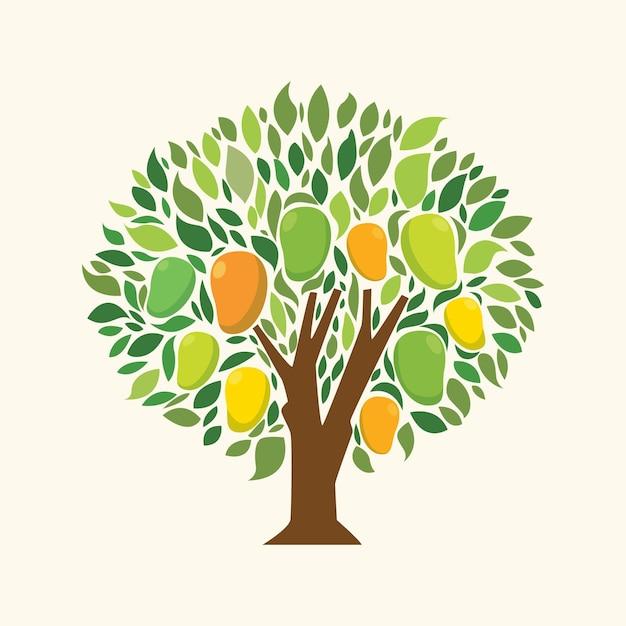 Platte ontwerp mangoboom Gratis Vector