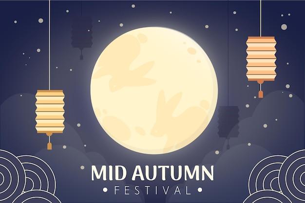 Platte ontwerp medio herfst festival Premium Vector