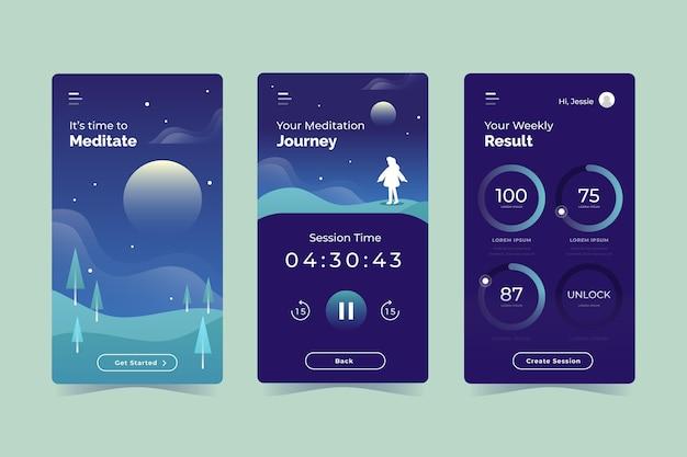 Platte ontwerp meditatie app-set Gratis Vector