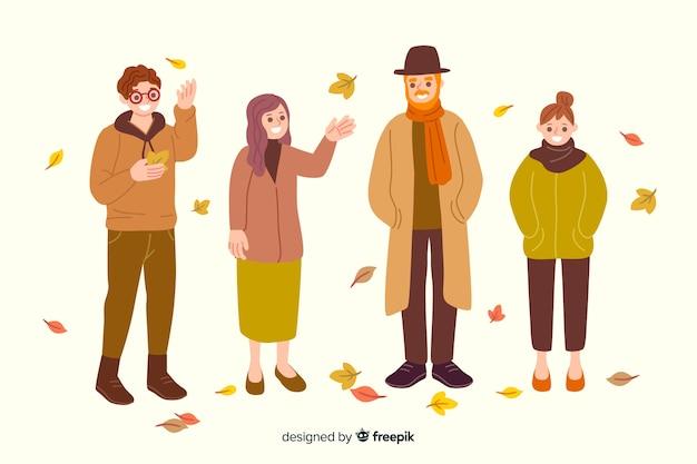 Platte ontwerp mensen dragen herfst kleding Gratis Vector
