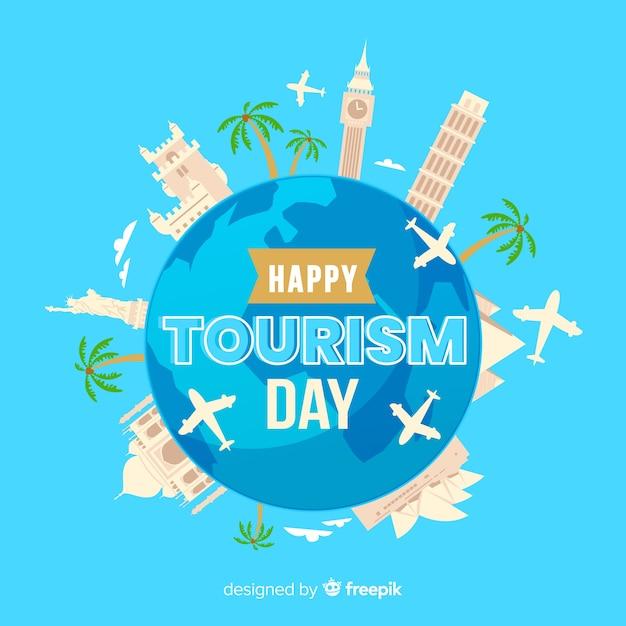 Platte ontwerp met wereldtoerisme dag Gratis Vector