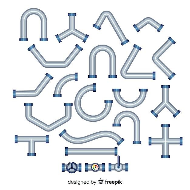Platte ontwerp metalen pijplijn collectie Gratis Vector