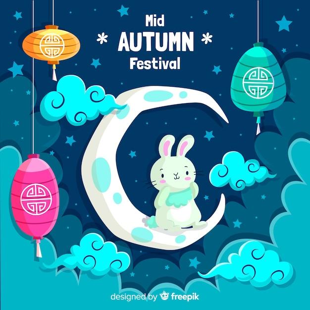Platte ontwerp midden herfst festival Gratis Vector