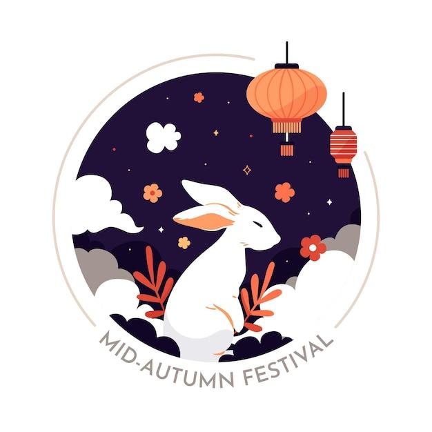 Platte ontwerp midden herfst festival Premium Vector