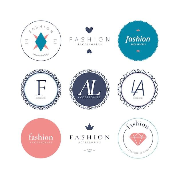 Platte ontwerp mode-accessoires logo set Gratis Vector