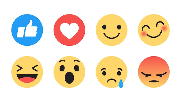 Platte ontwerp moderne facebook emoji Premium Vector