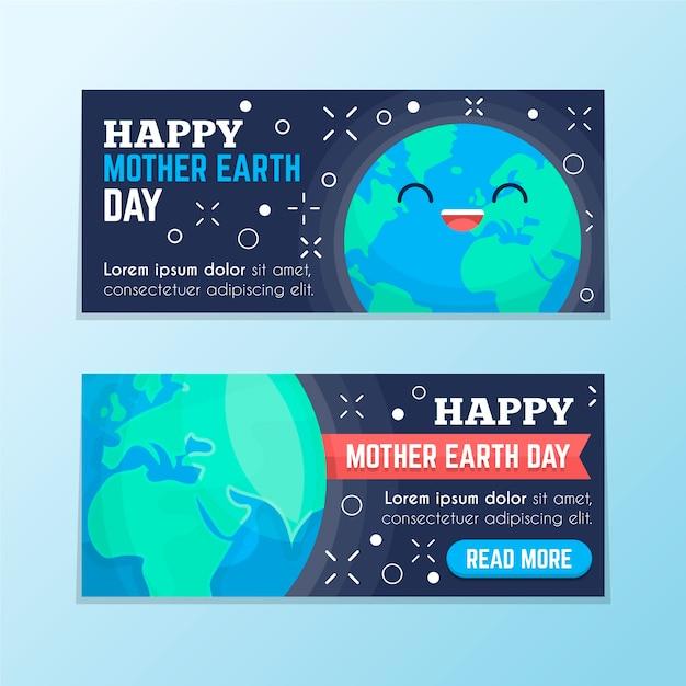 Platte ontwerp moeder aarde dag banner collectie Gratis Vector