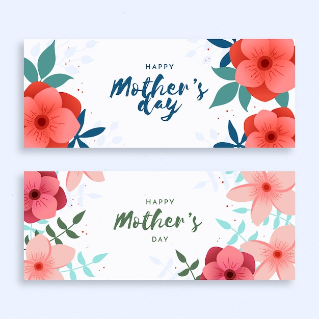 Platte ontwerp moederdag banners instellen Gratis Vector